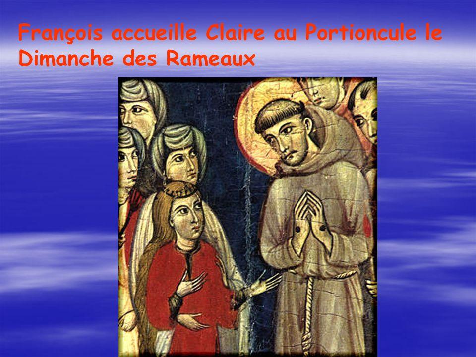 François accueille Claire au Portioncule le Dimanche des Rameaux