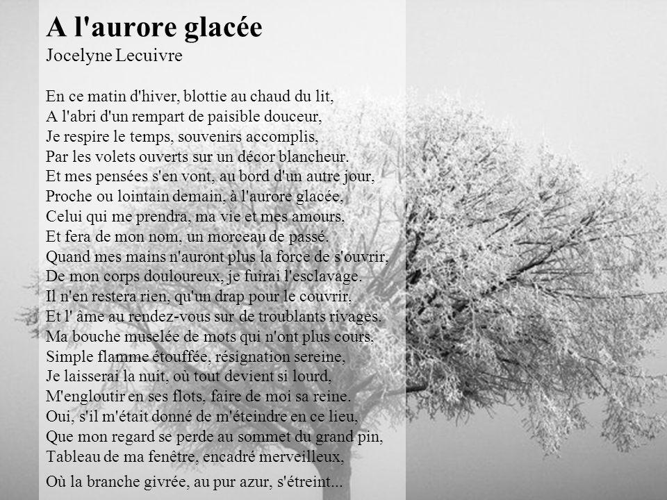 A l aurore glacée Jocelyne Lecuivre En ce matin d hiver, blottie au chaud du lit, A l abri d un rempart de paisible douceur, Je respire le temps, souvenirs accomplis, Par les volets ouverts sur un décor blancheur.