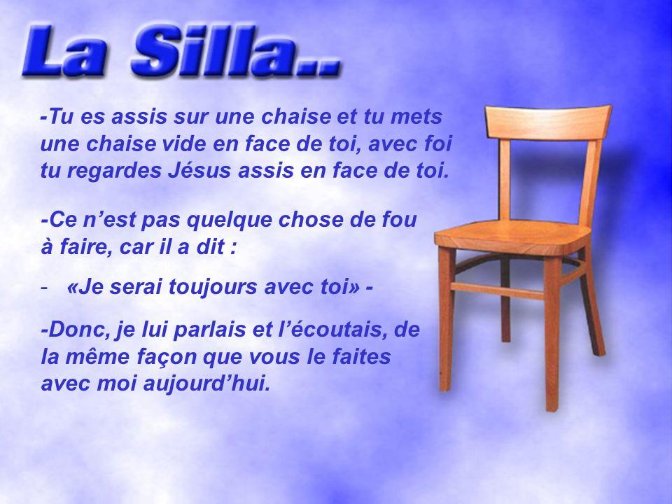 -Tu es assis sur une chaise et tu mets une chaise vide en face de toi, avec foi tu regardes Jésus assis en face de toi.