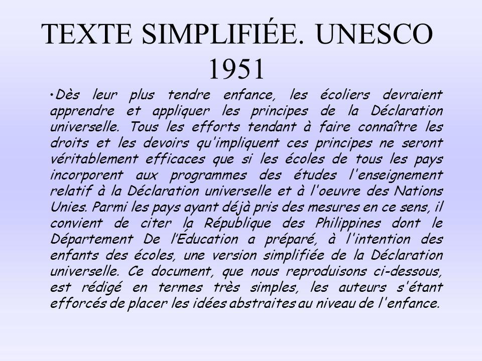 TEXTE SIMPLIFIÉE. UNESCO 1951