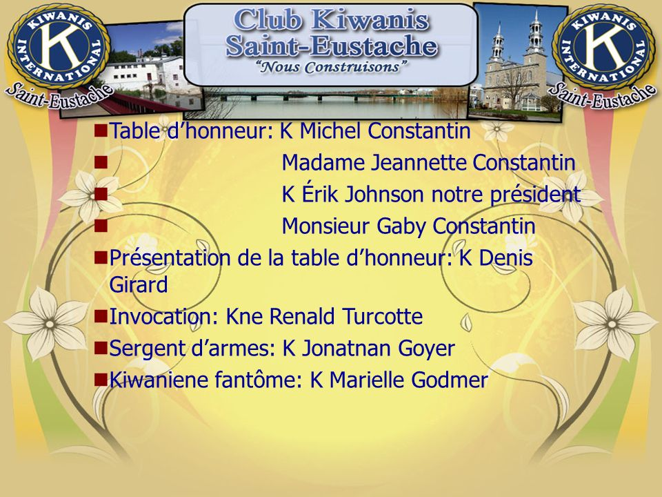 Table d'honneur: K Michel Constantin