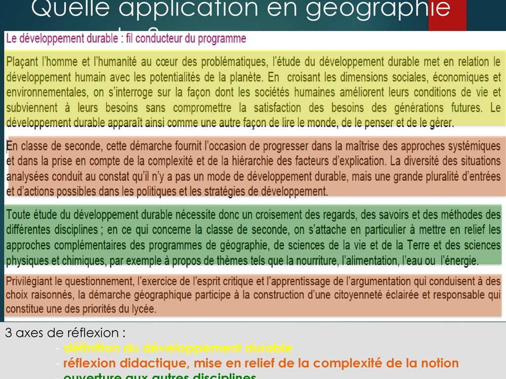 Quelle application en géographie seconde