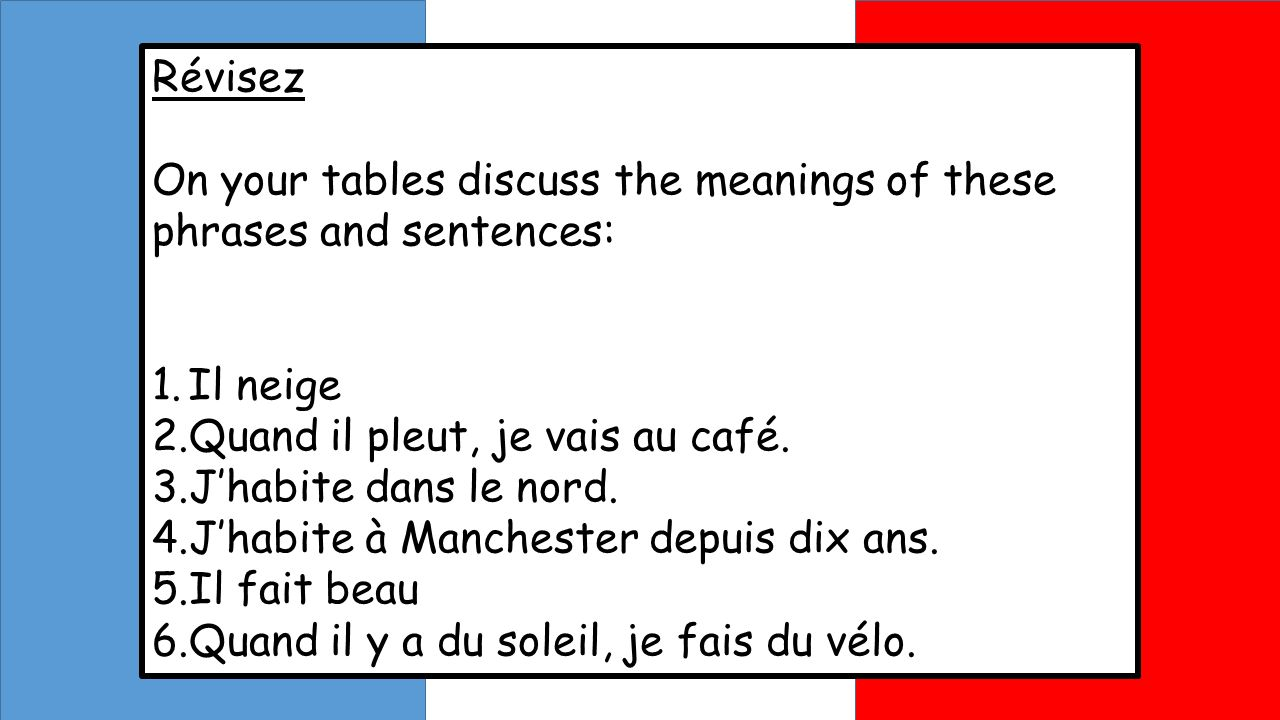 Révisez On your tables discuss the meanings of these phrases and sentences: Il neige. Quand il pleut, je vais au café.