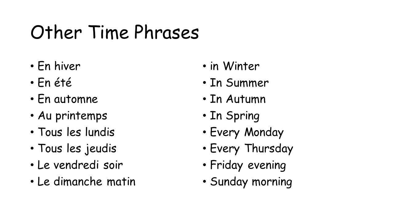 Other Time Phrases En hiver En été En automne Au printemps