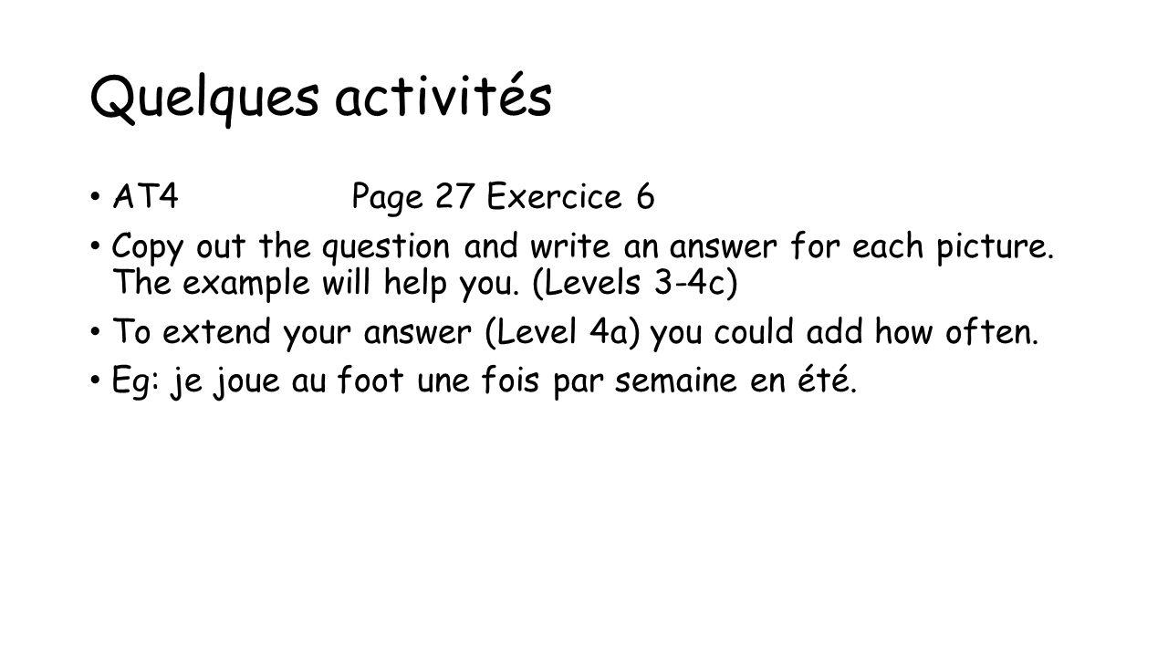 Quelques activités AT4 Page 27 Exercice 6