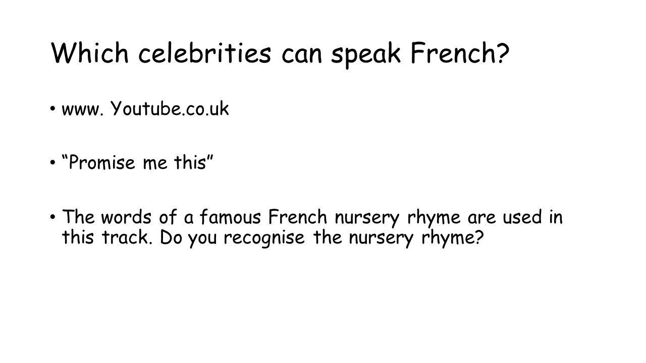 Which celebrities can speak French