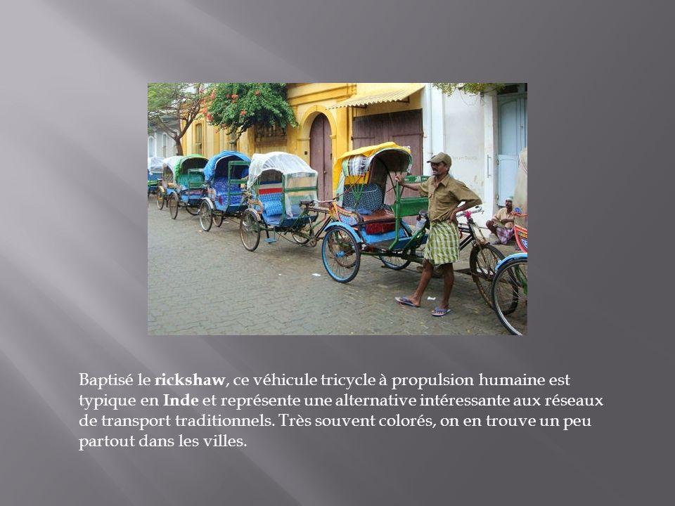 Baptisé le rickshaw, ce véhicule tricycle à propulsion humaine est typique en Inde et représente une alternative intéressante aux réseaux de transport traditionnels.