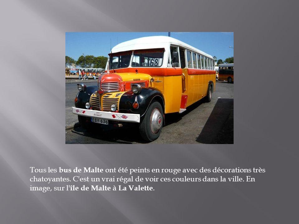 Tous les bus de Malte ont été peints en rouge avec des décorations très chatoyantes.