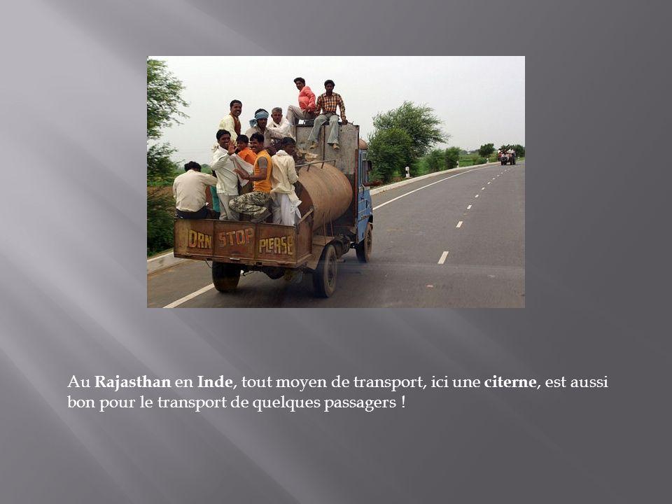 Au Rajasthan en Inde, tout moyen de transport, ici une citerne, est aussi bon pour le transport de quelques passagers !