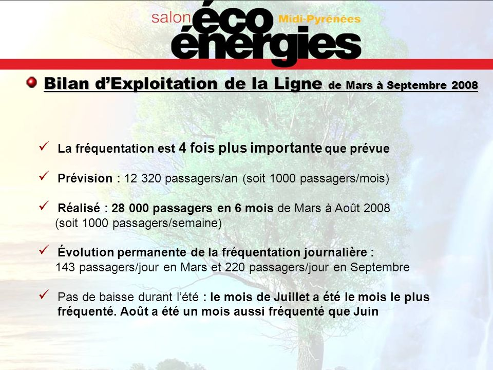 Bilan d'Exploitation de la Ligne de Mars à Septembre 2008