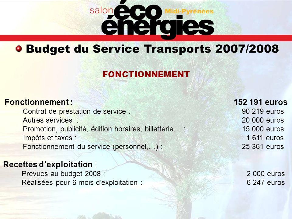 Budget du Service Transports 2007/2008