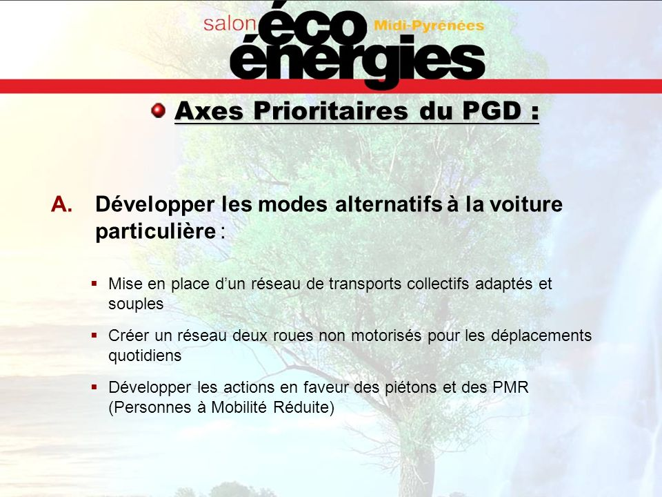 Axes Prioritaires du PGD :