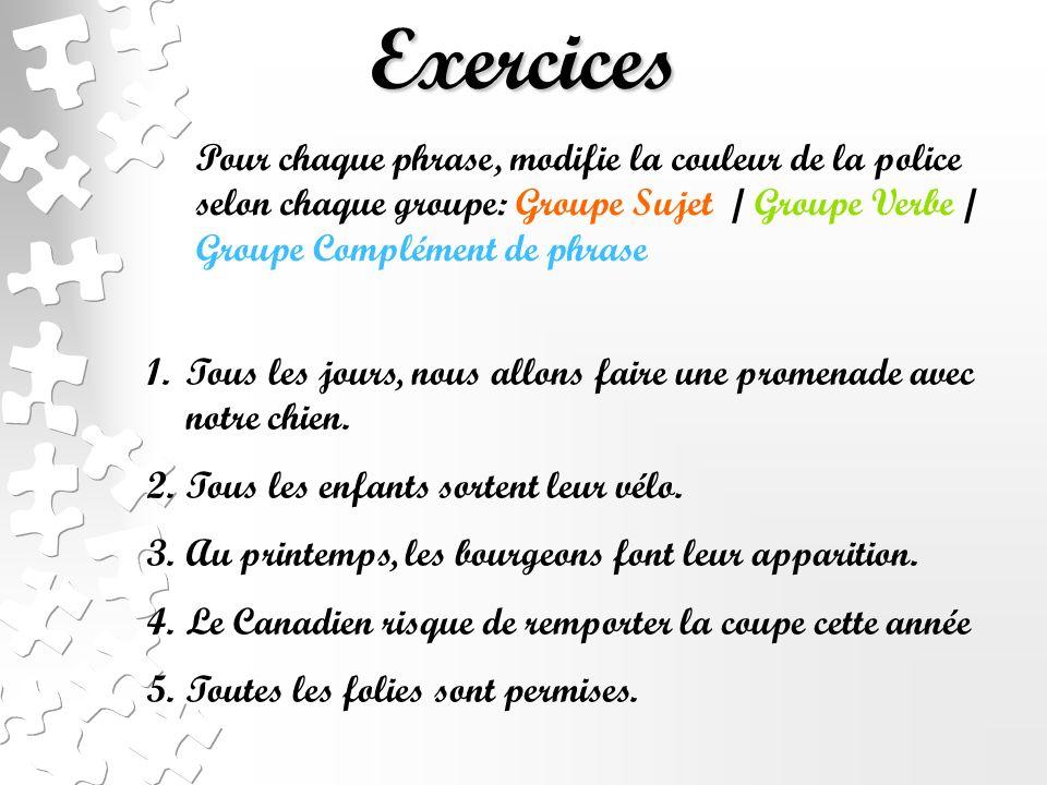 Exercices Pour chaque phrase, modifie la couleur de la police selon chaque groupe: Groupe Sujet / Groupe Verbe / Groupe Complément de phrase.