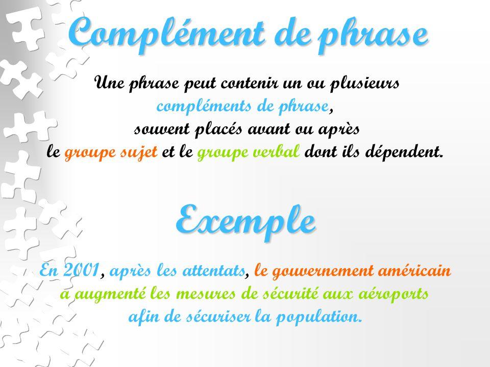 Complément de phrase Exemple Une phrase peut contenir un ou plusieurs