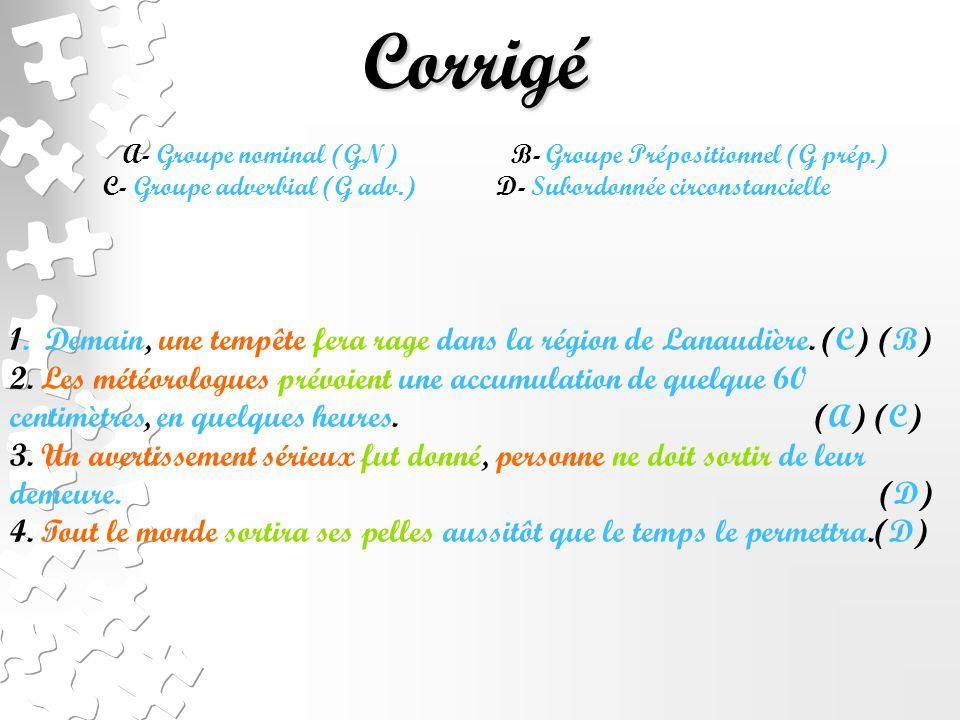 Corrigé A- Groupe nominal (GN) B- Groupe Prépositionnel (G prép.)