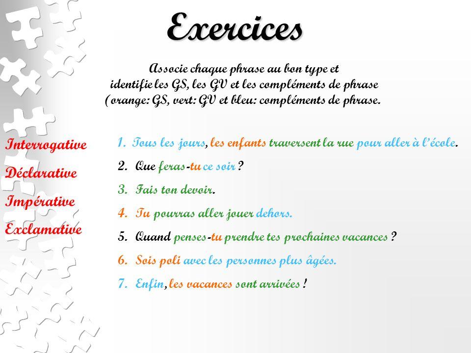 Exercices Interrogative Déclarative Impérative Exclamative