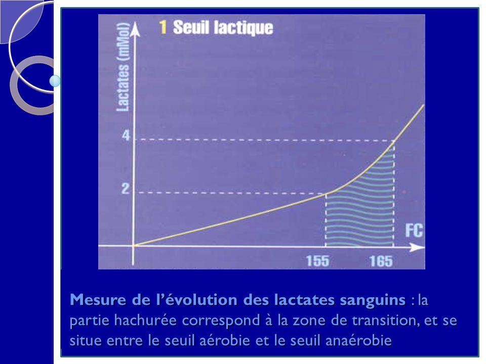 Mesure de l'évolution des lactates sanguins : la partie hachurée correspond à la zone de transition, et se situe entre le seuil aérobie et le seuil anaérobie