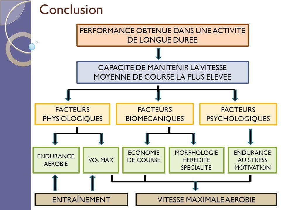 Conclusion PERFORMANCE OBTENUE DANS UNE ACTIVITE DE LONGUE DUREE