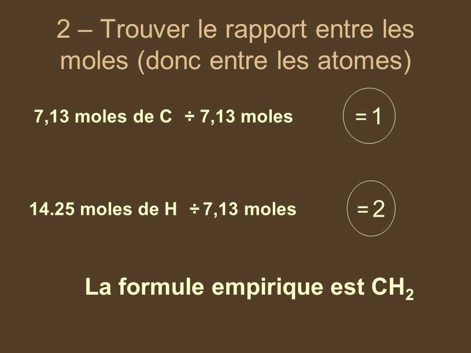 2 – Trouver le rapport entre les moles (donc entre les atomes)