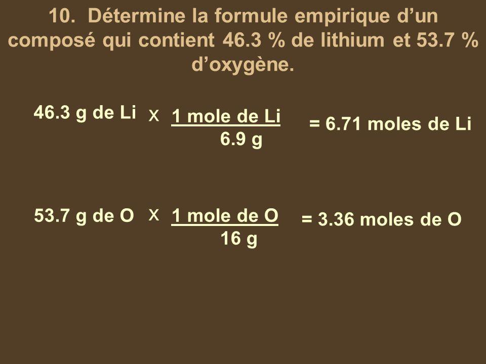 10. Détermine la formule empirique d'un composé qui contient 46