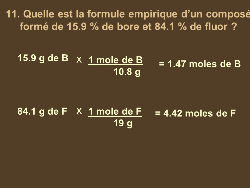 11. Quelle est la formule empirique d'un composé formé de 15