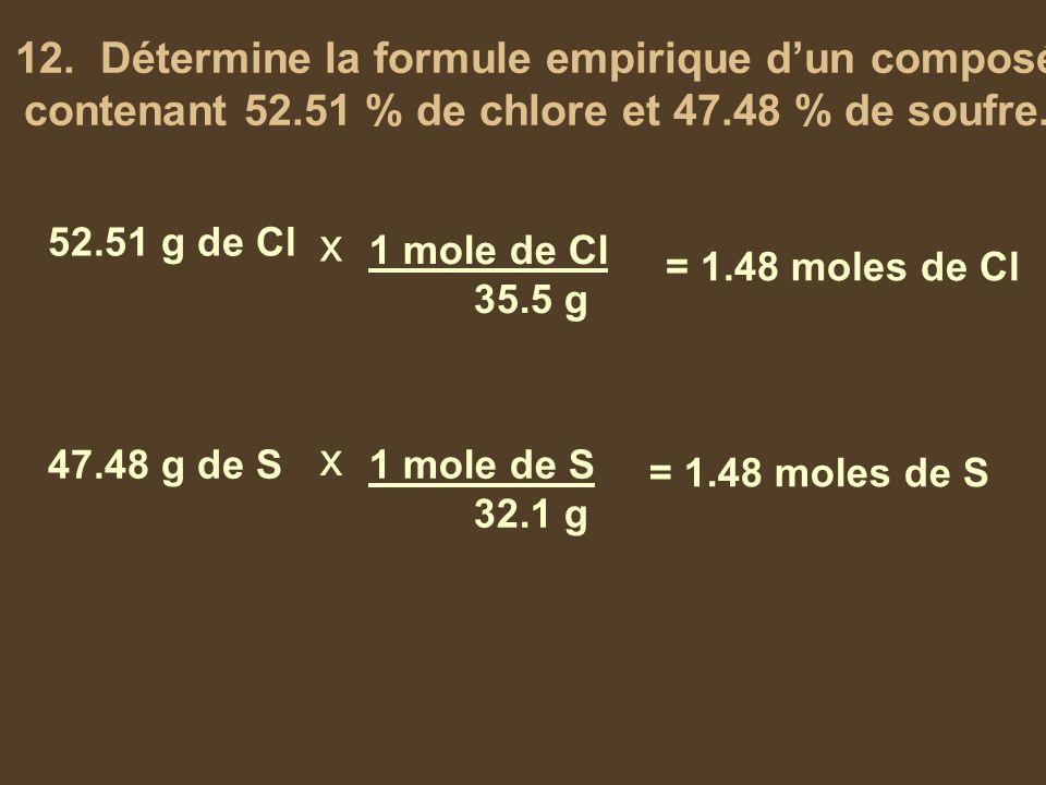 12. Détermine la formule empirique d'un composé contenant 52