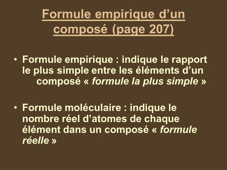 Formule empirique d'un composé (page 207)