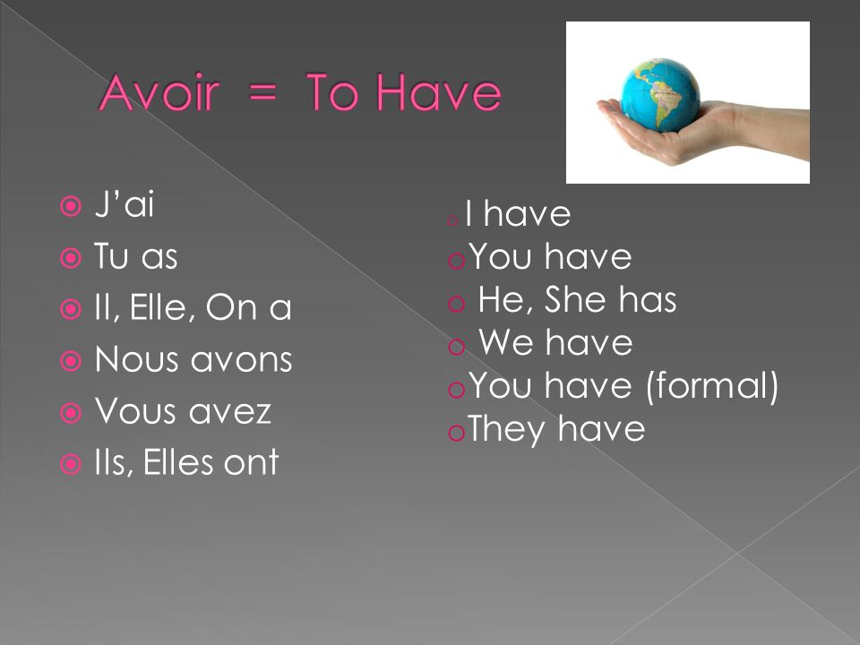 Avoir = To Have J'ai Tu as You have Il, Elle, On a He, She has