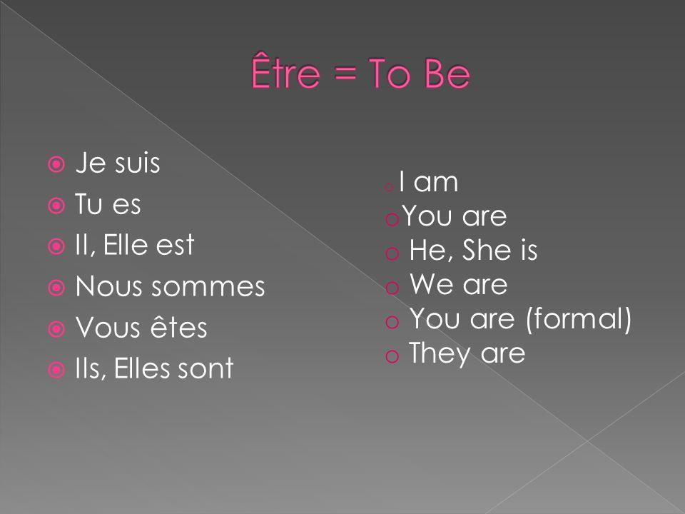 Être = To Be Je suis Tu es Il, Elle est You are He, She is Nous sommes