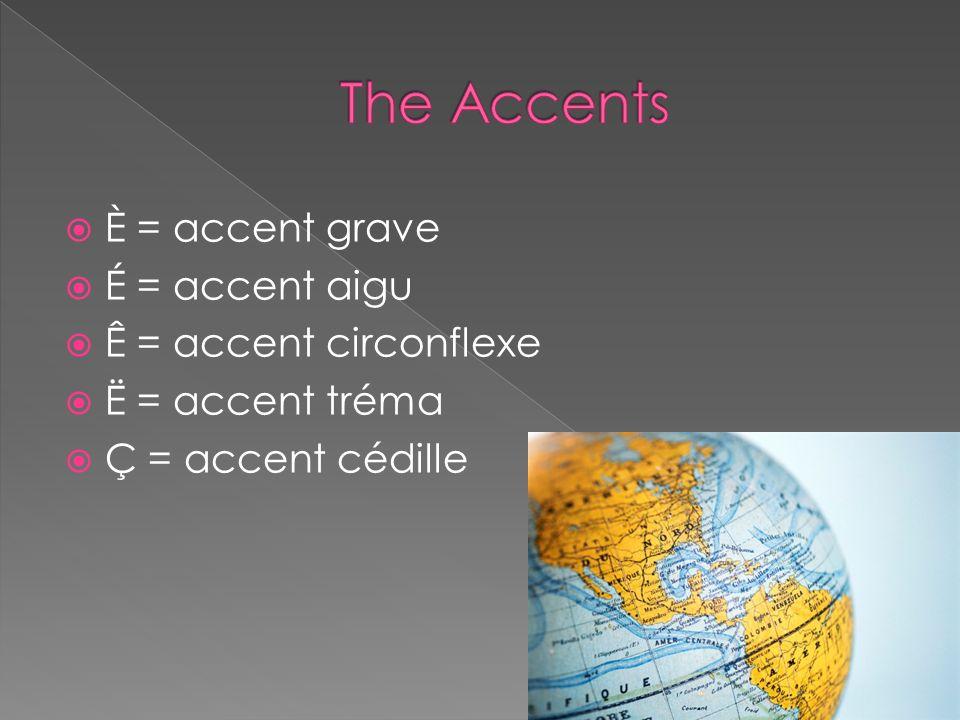 The Accents È = accent grave É = accent aigu Ê = accent circonflexe