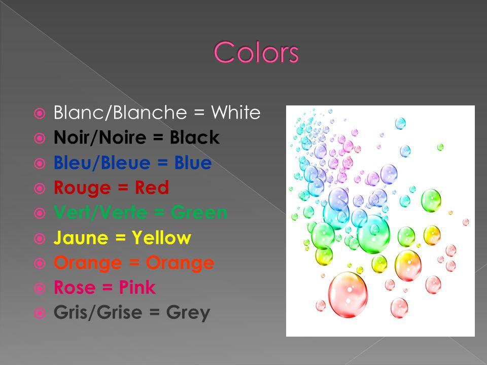 Colors Blanc/Blanche = White Noir/Noire = Black Bleu/Bleue = Blue