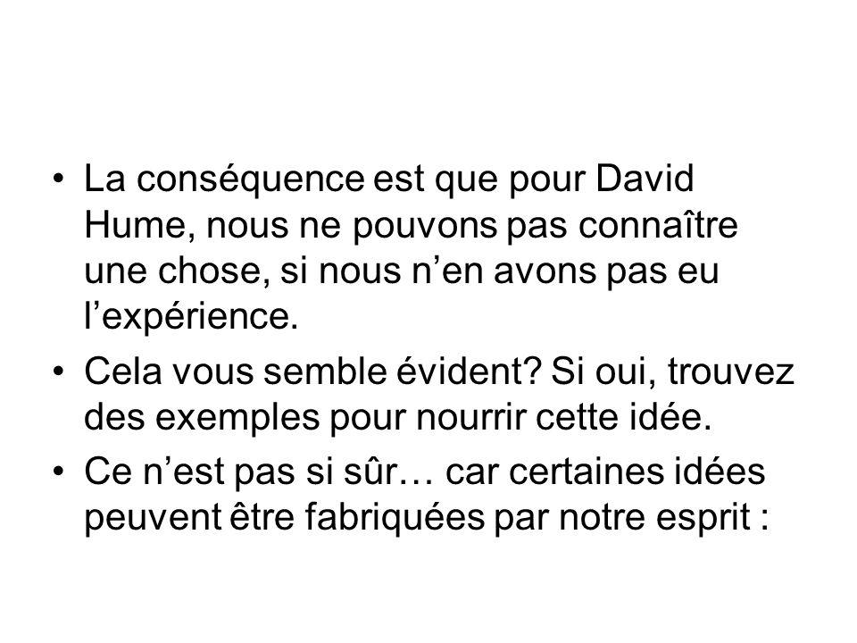 La conséquence est que pour David Hume, nous ne pouvons pas connaître une chose, si nous n'en avons pas eu l'expérience.