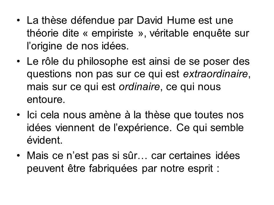 La thèse défendue par David Hume est une théorie dite « empiriste », véritable enquête sur l'origine de nos idées.