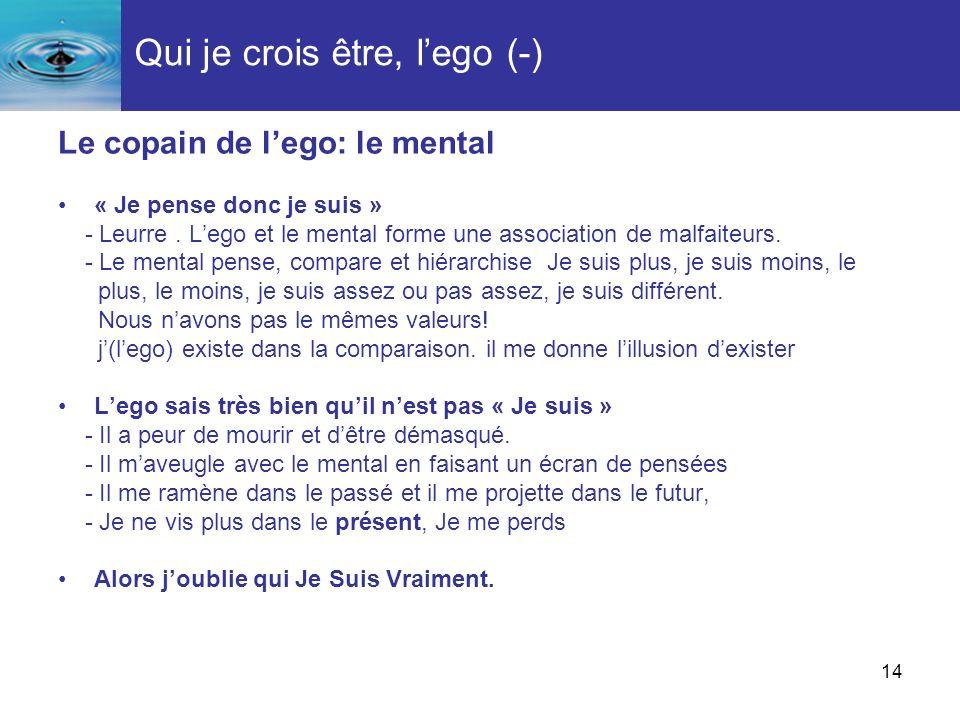 Qui je crois être, l'ego (-)