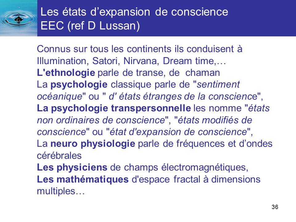Les états d'expansion de conscience EEC (ref D Lussan)