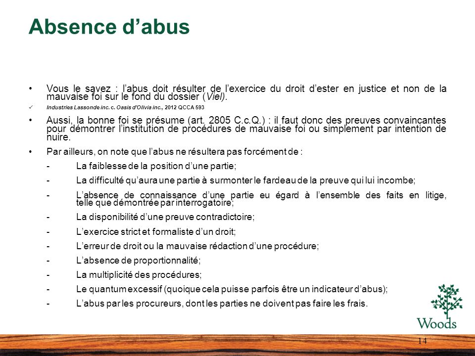 Absence d'abus
