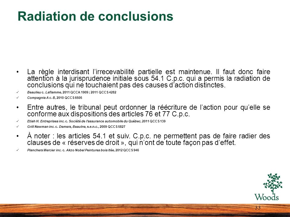 Radiation de conclusions