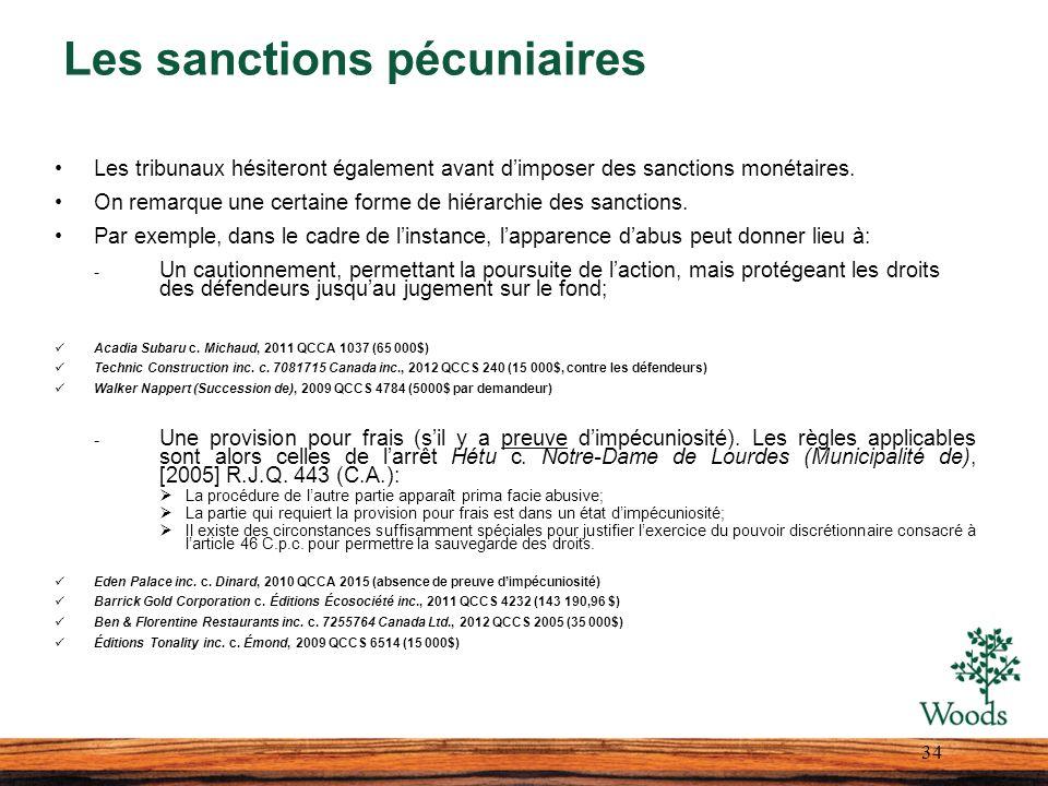 Les sanctions pécuniaires