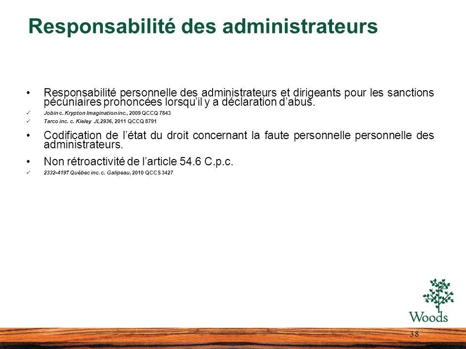 Responsabilité des administrateurs