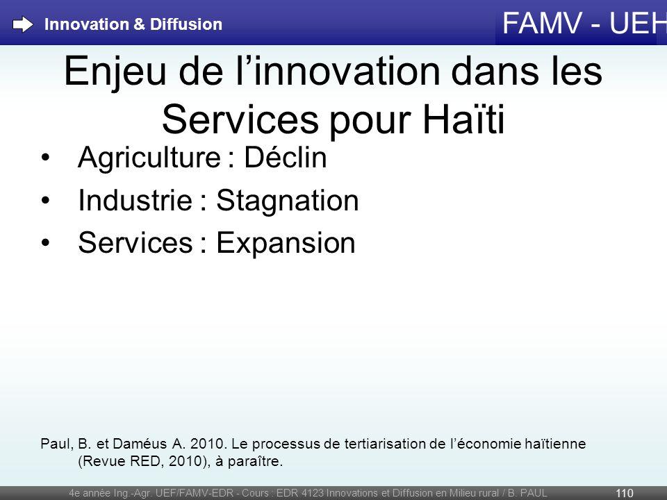 Enjeu de l'innovation dans les Services pour Haïti