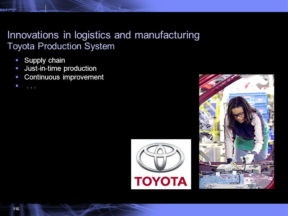 Innovations in logistics and manufacturing Toyota Production System