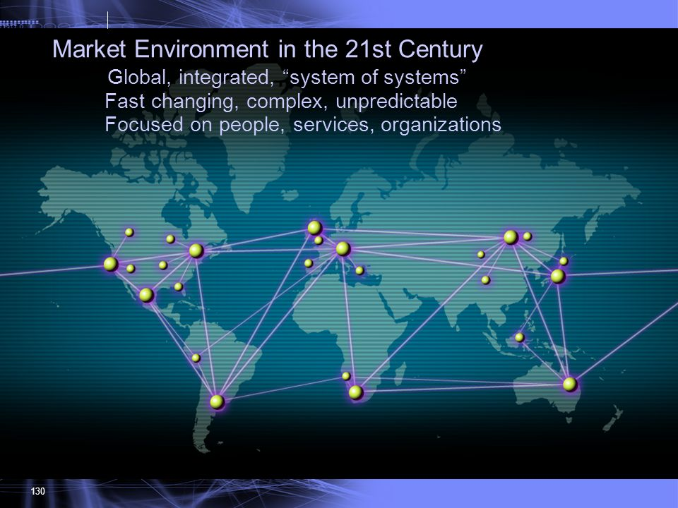 Market Environment in the 21st Century Global, integrated, system of systems Fast changing, complex, unpredictable Focused on people, services, organizations