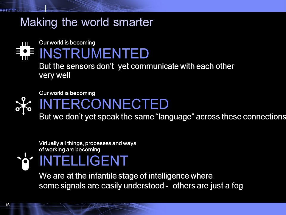 INSTRUMENTED INTERCONNECTED INTELLIGENT Making the world smarter