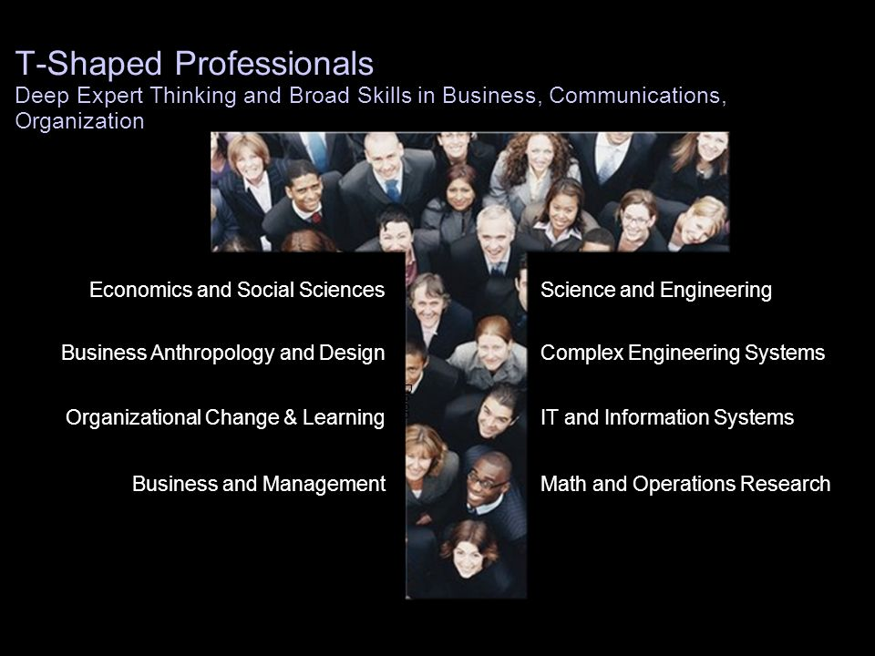 T-Shaped Professionals Deep Expert Thinking and Broad Skills in Business, Communications, Organization
