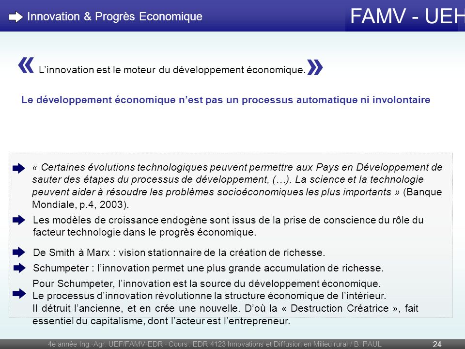 « » Innovation & Progrès Economique