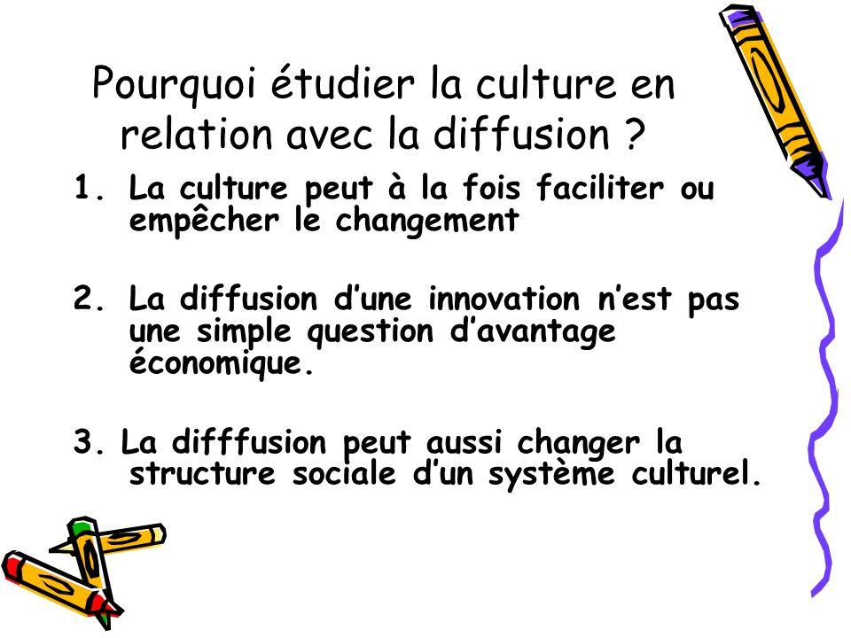 Pourquoi étudier la culture en relation avec la diffusion