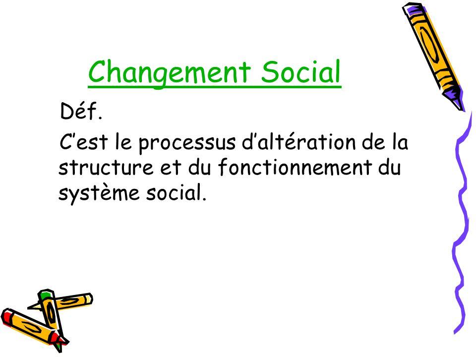 Changement Social Déf.
