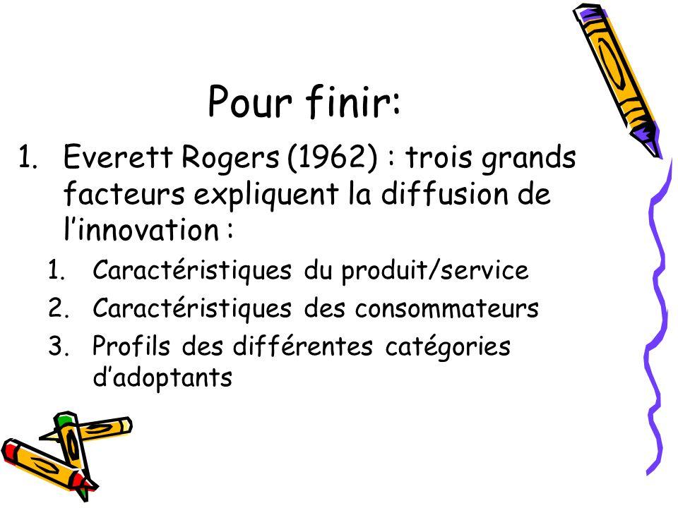 Pour finir: Everett Rogers (1962) : trois grands facteurs expliquent la diffusion de l'innovation :