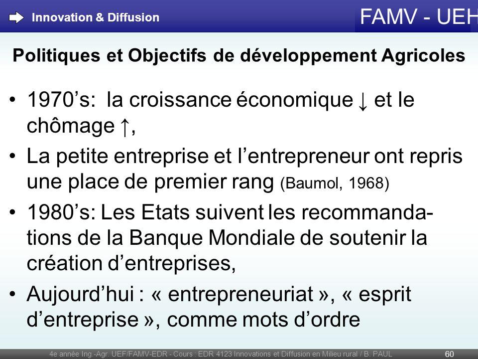 Politiques et Objectifs de développement Agricoles