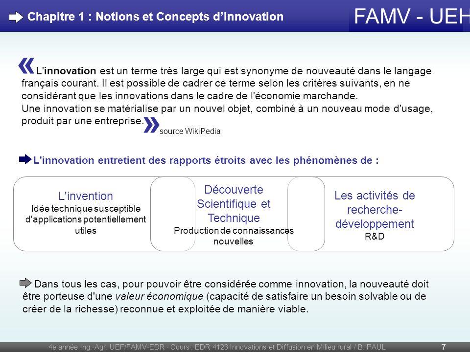 « » Chapitre 1 : Notions et Concepts d'Innovation